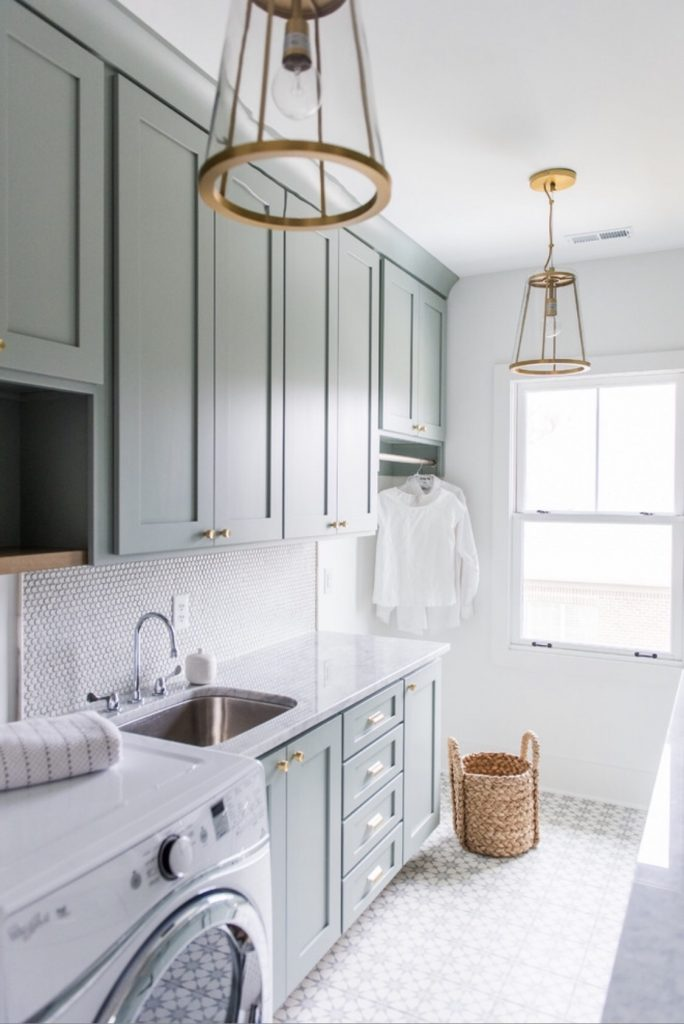 Sherwin Williams Oyster Bay Blue Laundry Room